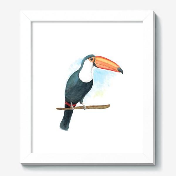 Картина «Акварельный тукан на ветке»