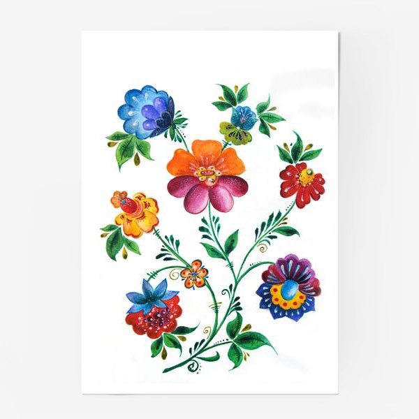 Постер «Цветы в русском-народном стиле»