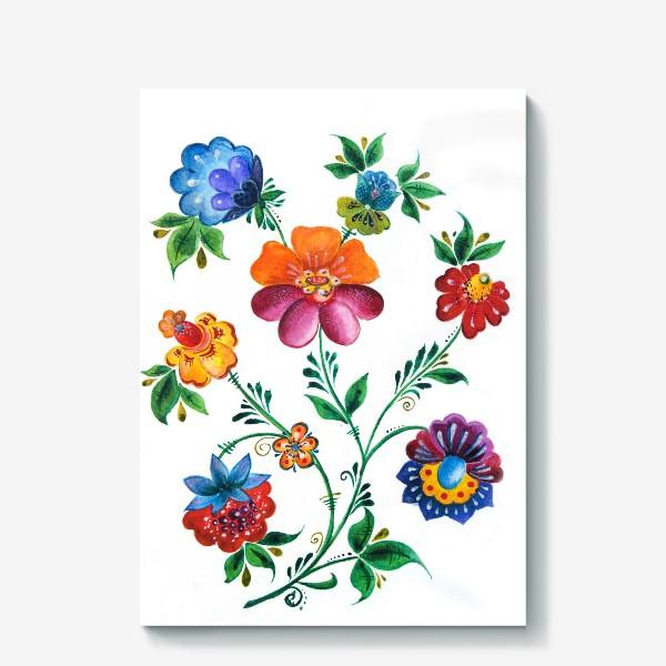 Холст «Цветы в русском-народном стиле»