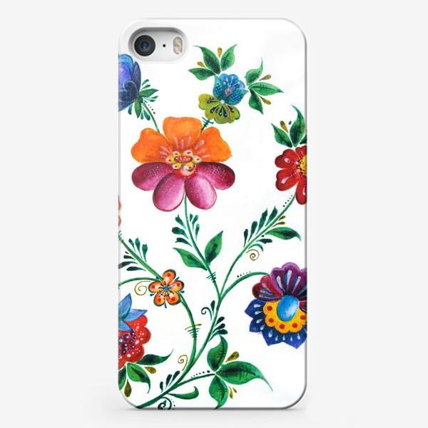 Чехол iPhone «Цветы в русском-народном стиле»
