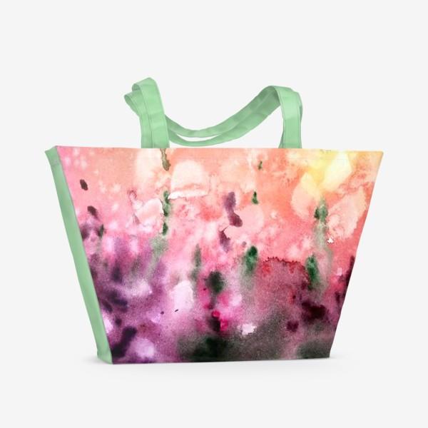 Пляжная сумка «Цветы в поле, акварельные брызги»