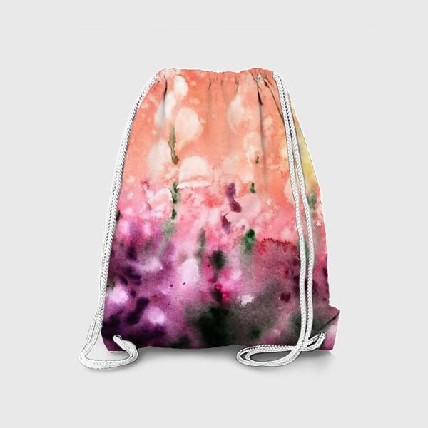 Рюкзак «Цветы в поле, акварельные брызги»