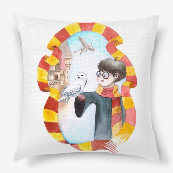 Подушка «Вошебник и сова на фоне замка в рамке из шарфа Гриффиндор»