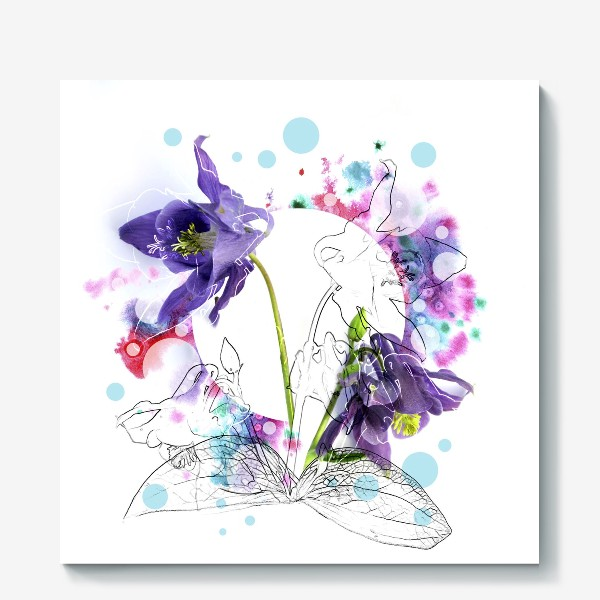 Холст «Цветы и акварели»