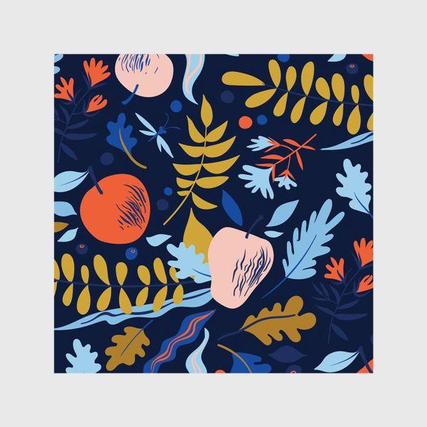 Шторы «осенний паттерн с яблоками и цветами»