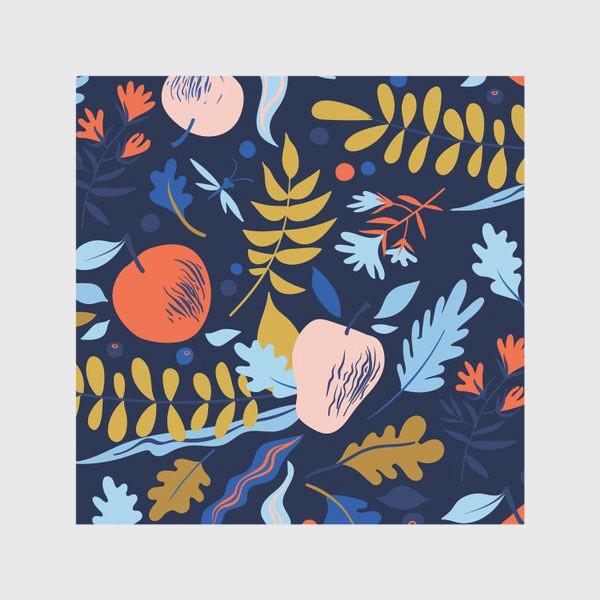 Скатерть «осенний паттерн с яблоками и цветами»