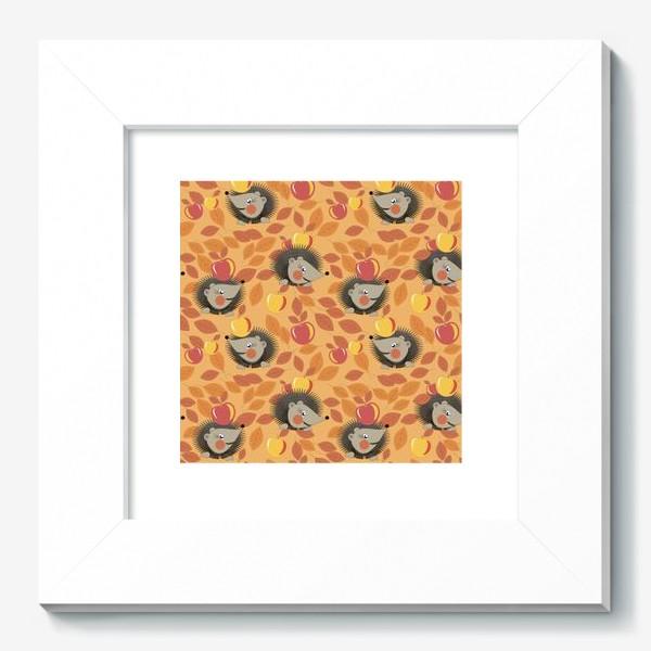 Картина «ежи собирают яблоки в осеннем лесу»