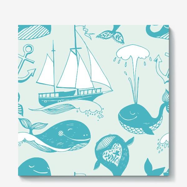 Холст «Резвящиеся в океане киты. Детский принт»