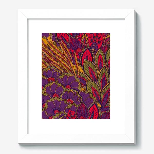 Картина «Паттерн из осенних цветов и листьев в восточном стиле»
