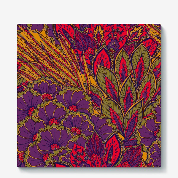 Холст «Паттерн из осенних цветов и листьев в восточном стиле»