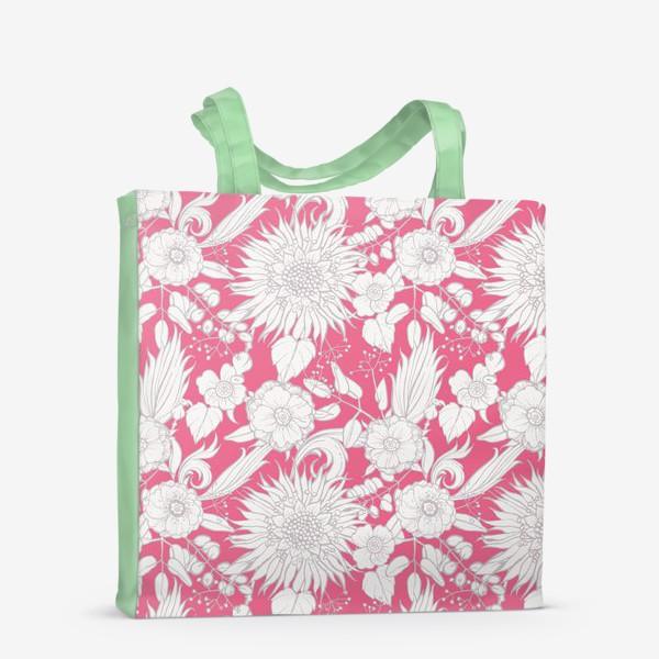 Сумка-шоппер «Паттерн из луговых цветов на розовом фоне»