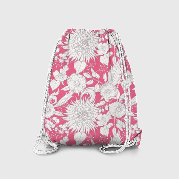 Рюкзак «Паттерн из луговых цветов на розовом фоне»