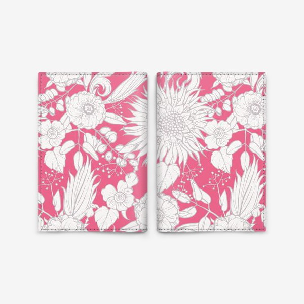Обложка для паспорта «Паттерн из луговых цветов на розовом фоне»