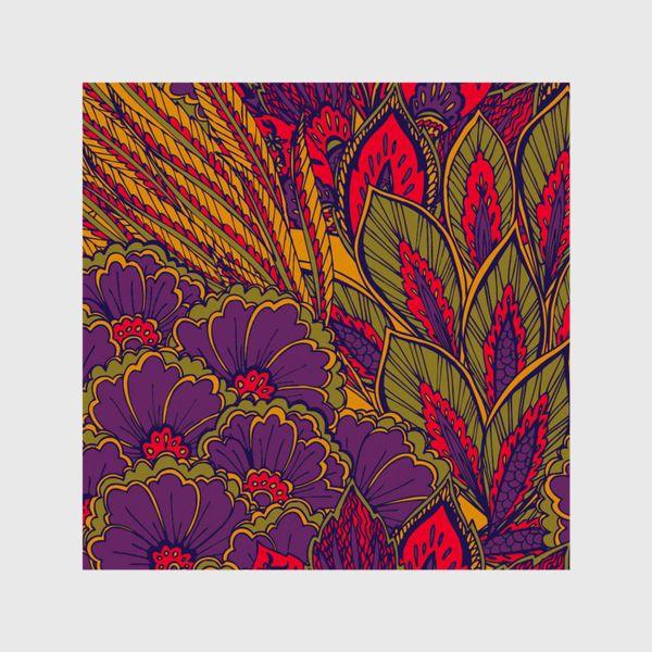 Шторы «Паттерн из осенних цветов и листьев в восточном стиле»