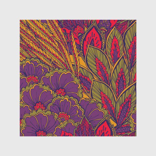 Скатерть «Паттерн из осенних цветов и листьев в восточном стиле»