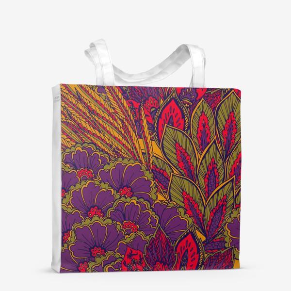 Сумка-шоппер «Паттерн из осенних цветов и листьев в восточном стиле»