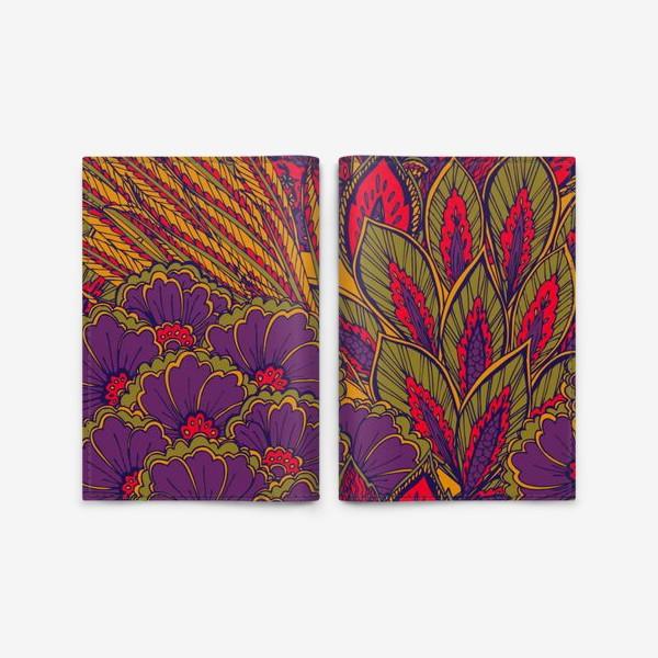 Обложка для паспорта «Паттерн из осенних цветов и листьев в восточном стиле»