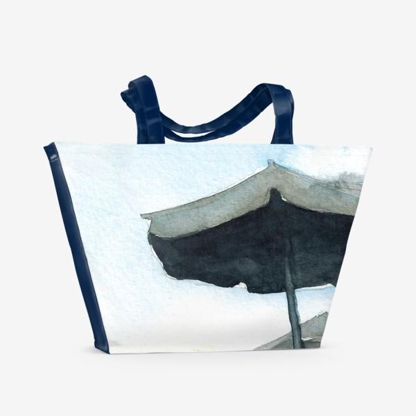 Пляжная сумка «Зонтики на фоне закатного неба, акварель»