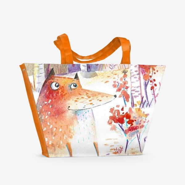 Пляжная сумка «Лисы осенью»