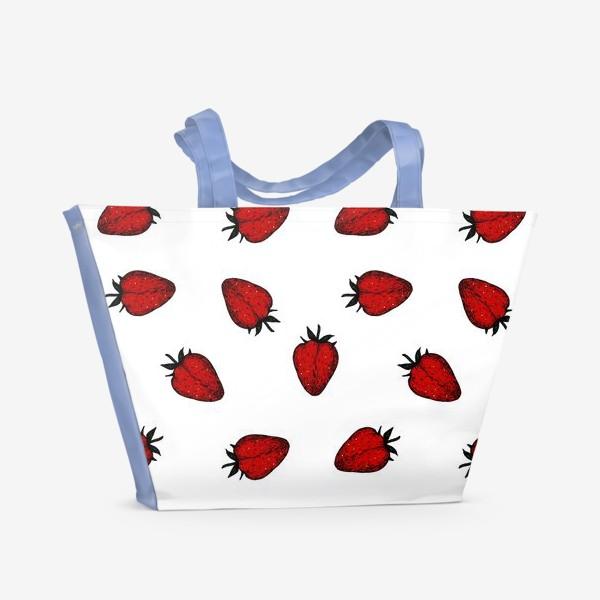 Пляжная сумка «Клубничный паттерн»