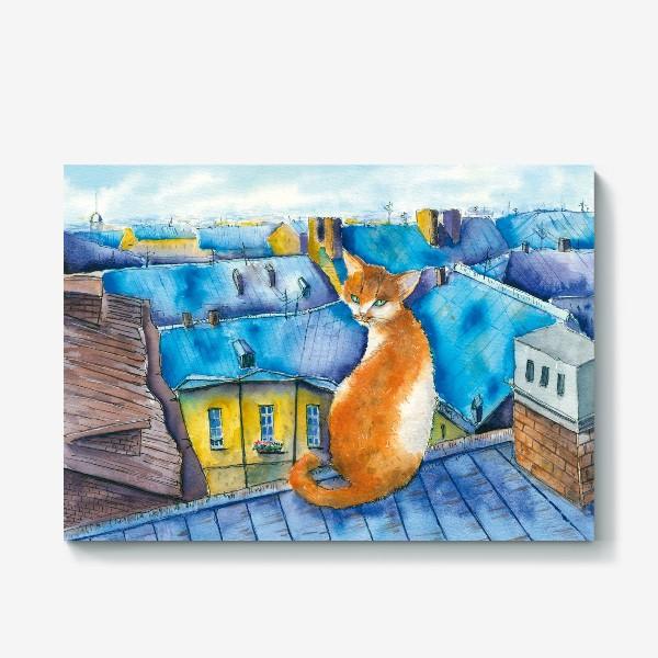 Холст «Котик на крышах Питера»
