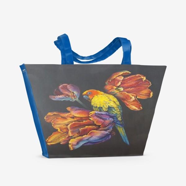 Пляжная сумка «Попугайные тюльпаны. »