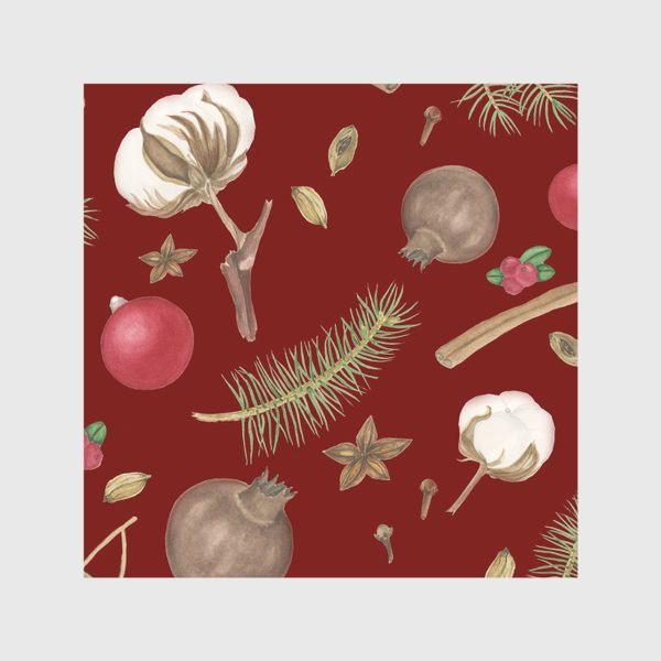 Скатерть «Сухоцветы и еловые веточки на красном фоне»