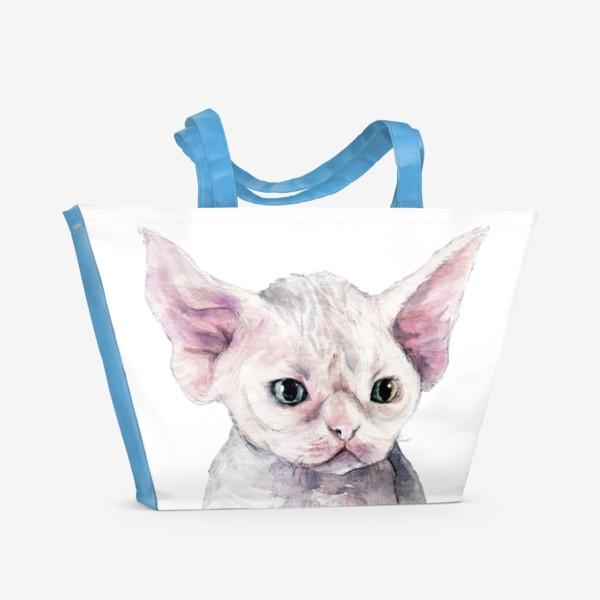 Пляжная сумка «белый котенок девонрекс»