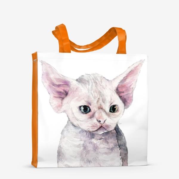 Сумка-шоппер «белый котенок девонрекс»