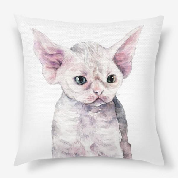 Подушка «белый котенок девонрекс»