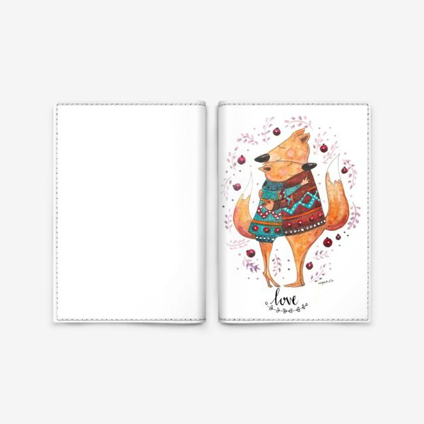 Обложка для паспорта «Влюбленные лисички»