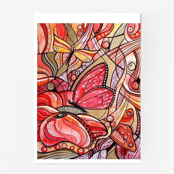 Постер «Красные цветы и бабочки»