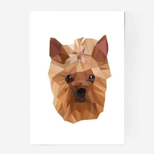 Постер «Йоркширский терьер, милейшая собака в стиле лоу-поли»