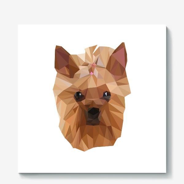 Холст «Йоркширский терьер, милейшая собака в стиле лоу-поли»