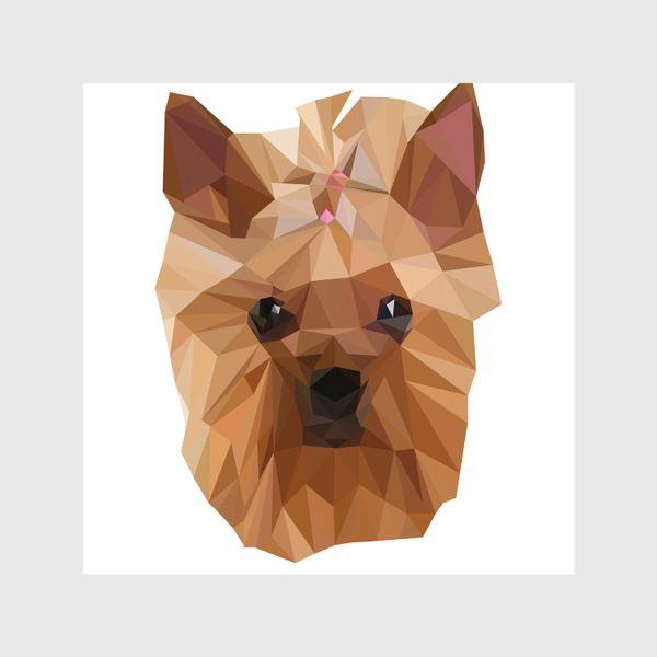 Шторы «Йоркширский терьер, милейшая собака в стиле лоу-поли»