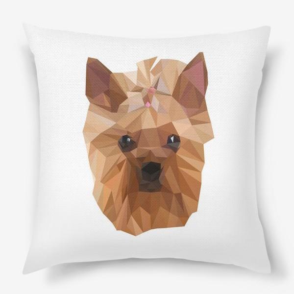 Подушка «Йоркширский терьер, милейшая собака в стиле лоу-поли»