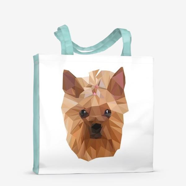 Сумка-шоппер «Йоркширский терьер, милейшая собака в стиле лоу-поли»