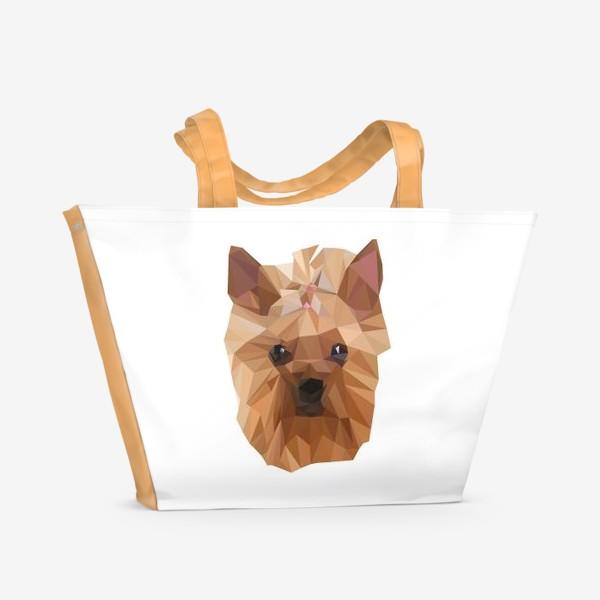 Пляжная сумка «Йоркширский терьер, милейшая собака в стиле лоу-поли»