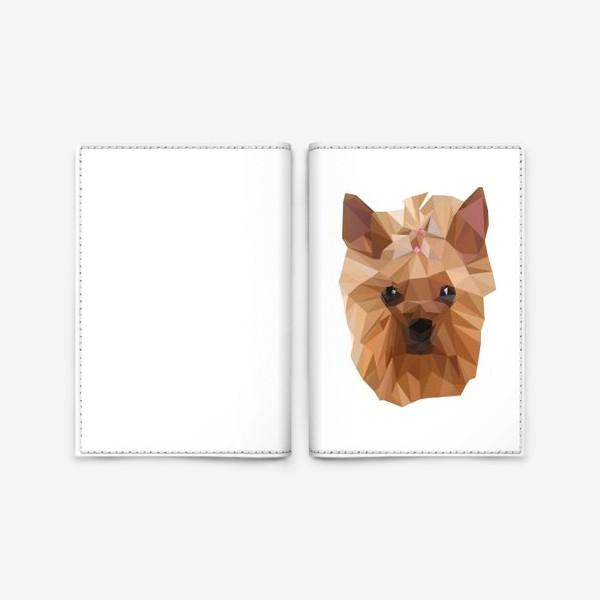 Обложка для паспорта «Йоркширский терьер, милейшая собака в стиле лоу-поли»