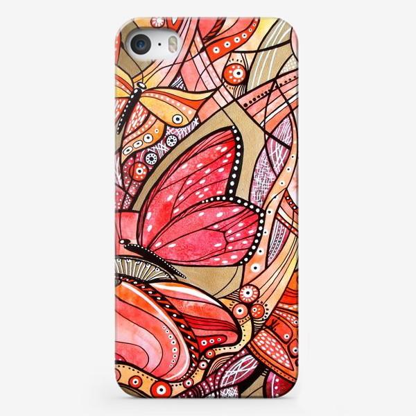 Чехол iPhone «Красные цветы и бабочки»