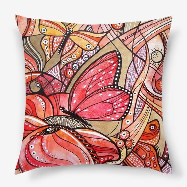 Подушка «Красные цветы и бабочки»