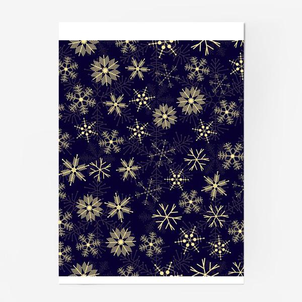 Постер «Снежинки на синем фоне»