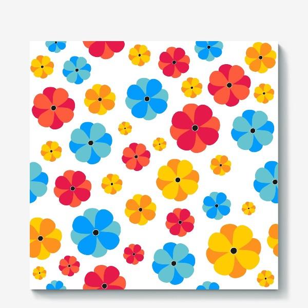 Холст «Разноцветные цветочки»