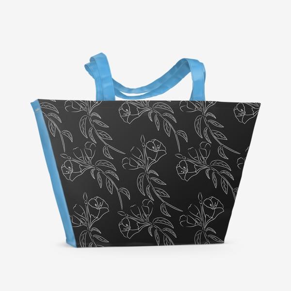 Пляжная сумка «Цветочный паттерн на сером фоне»