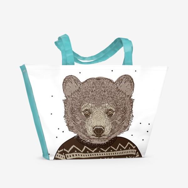 Пляжная сумка «Медведь в свитере»