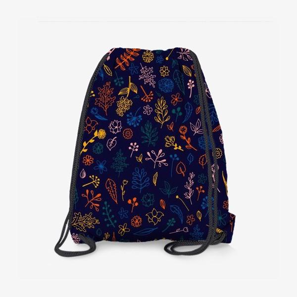 Рюкзак «растительный узор на темно-синем фоне»