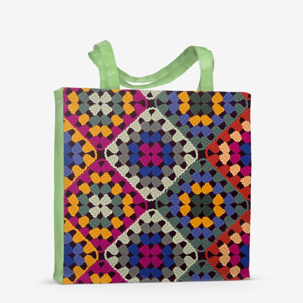 Сумка-шоппер «узор вязанные крючком бабушкины квадраты»