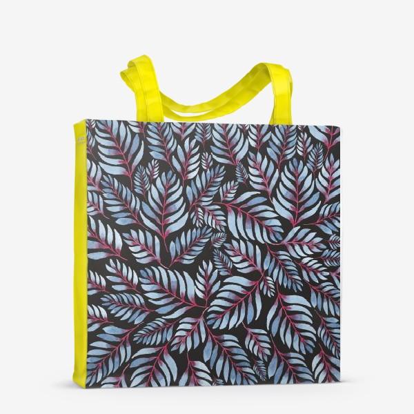 Сумка-шоппер «Голубые листья с красной серединкой на черном фоне»