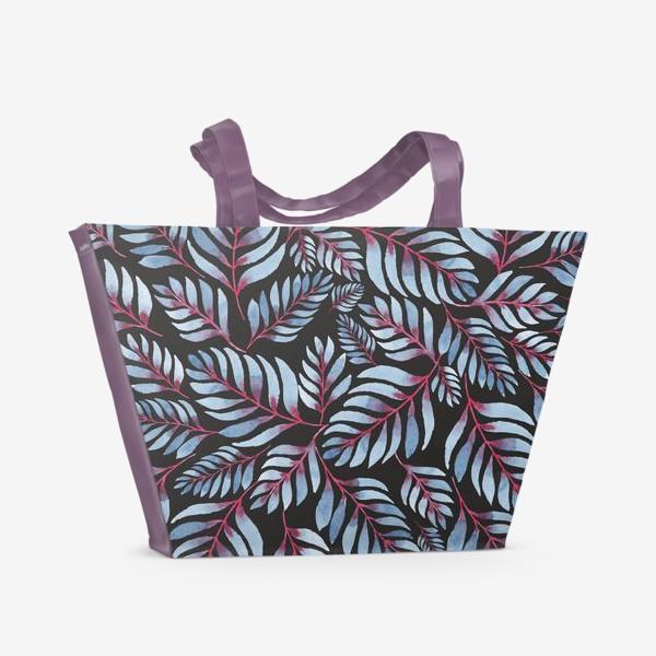 Пляжная сумка «Голубые листья с красной серединкой на черном фоне»