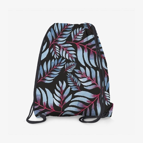 Рюкзак «Голубые листья с красной серединкой на черном фоне»